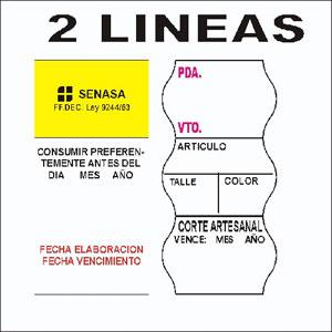Etiquetas preimpresas 2 linea para etiquetadoras
