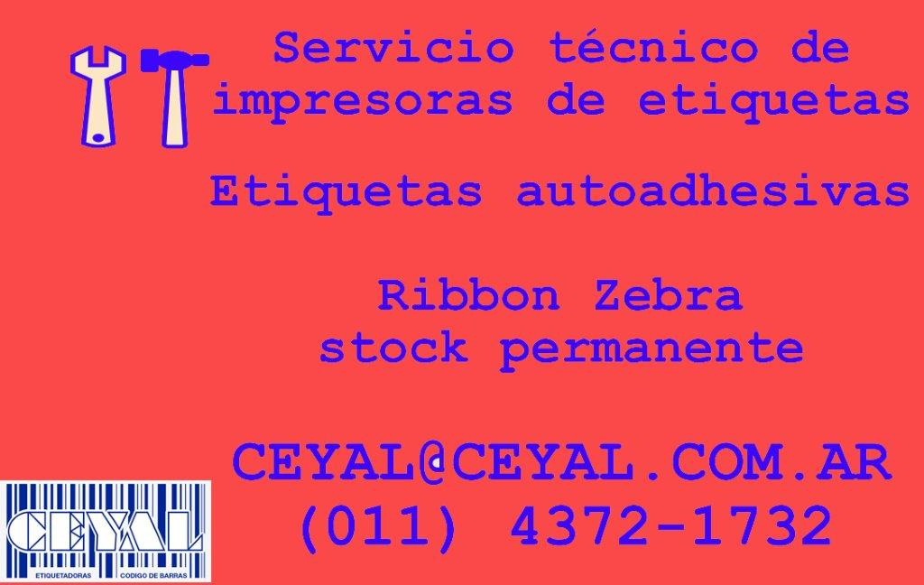 (011) 4372 1732 TODA ARGENTINA RIBBON CERA 110X74 PARA ZEBRA TLP 2844 O SIMILAR GK420
