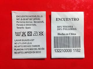 Etiquetas para ropa de poliamida