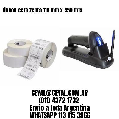 ribbon cera zebra 110 mm x 450 mts