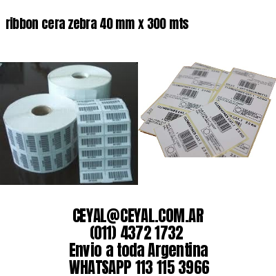 ribbon cera zebra 40 mm x 300 mts