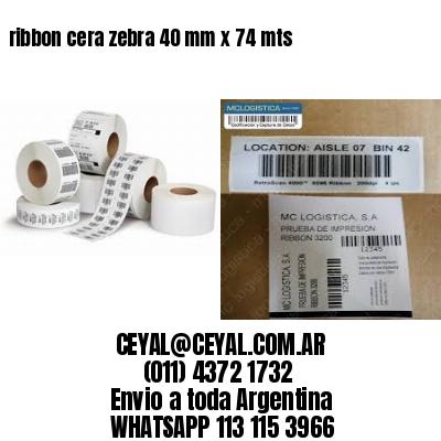 ribbon cera zebra 40 mm x 74 mts
