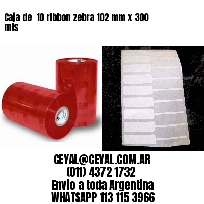 Caja de  10 ribbon zebra 102 mm x 300 mts