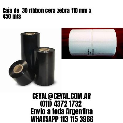 Caja de  30 ribbon cera zebra 110 mm x 450 mts