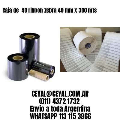 Caja de  40 ribbon zebra 40 mm x 300 mts
