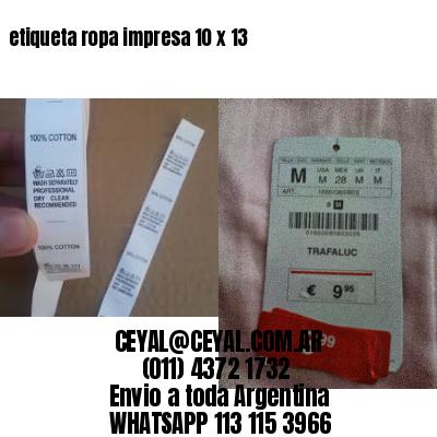 etiqueta ropa impresa 10 x 13