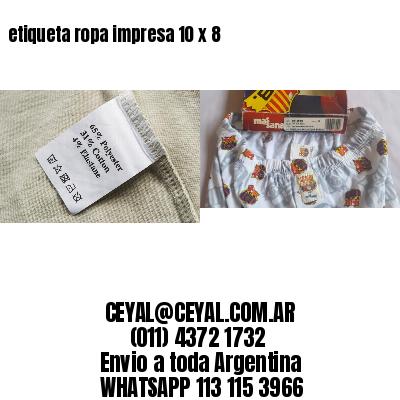 etiqueta ropa impresa 10 x 8