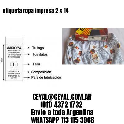 etiqueta ropa impresa 2 x 14