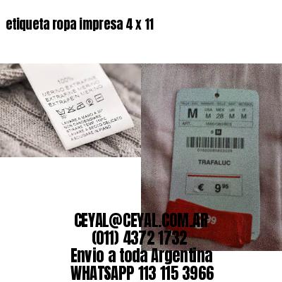 etiqueta ropa impresa 4 x 11