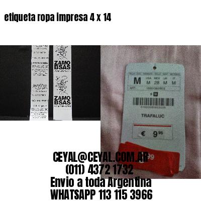 etiqueta ropa impresa 4 x 14