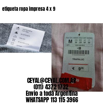 etiqueta ropa impresa 4 x 9