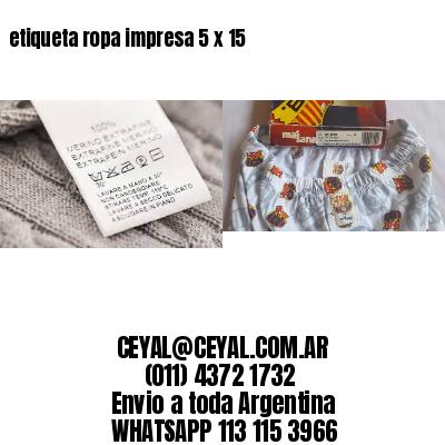 etiqueta ropa impresa 5 x 15