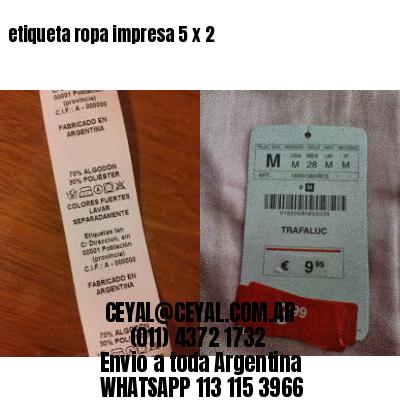 etiqueta ropa impresa 5 x 2