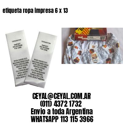 etiqueta ropa impresa 6 x 13
