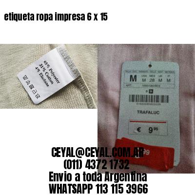 etiqueta ropa impresa 6 x 15