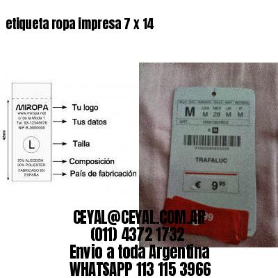 etiqueta ropa impresa 7 x 14