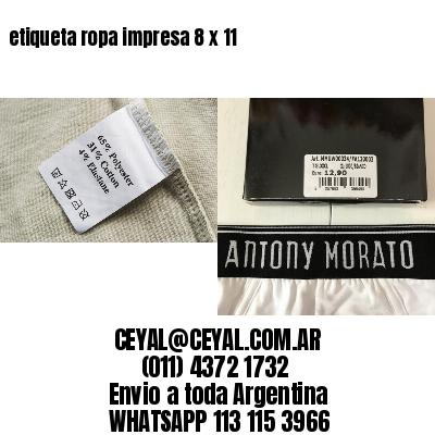 etiqueta ropa impresa 8 x 11