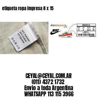 etiqueta ropa impresa 8 x 15