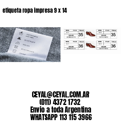 etiqueta ropa impresa 9 x 14