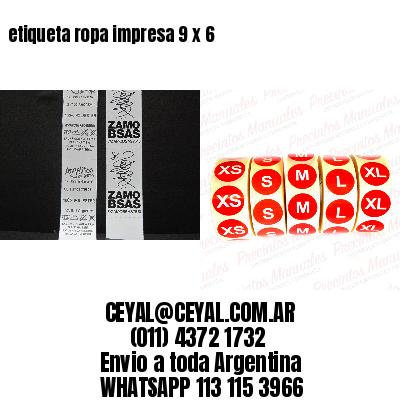 etiqueta ropa impresa 9 x 6