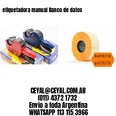 etiquetadora manual Banco de datos