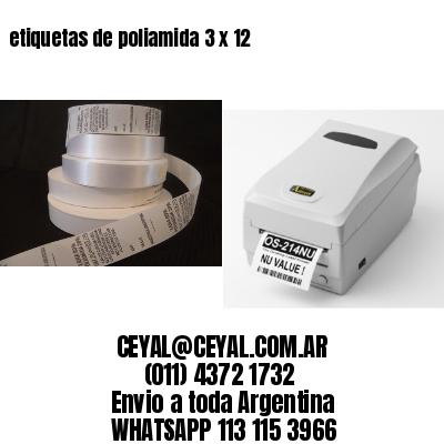 etiquetas de poliamida 3 x 12