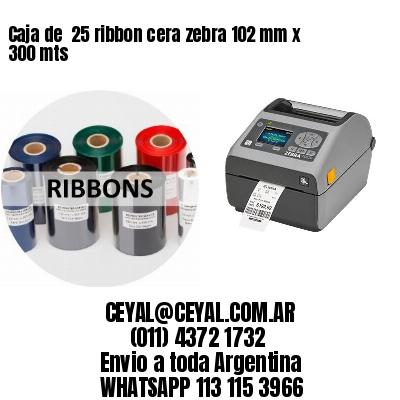 Caja de  25 ribbon cera zebra 102 mm x 300 mts