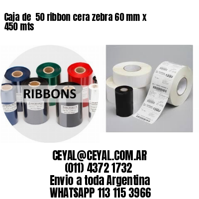 Caja de  50 ribbon cera zebra 60 mm x 450 mts
