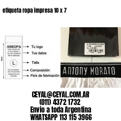 etiqueta ropa impresa 10 x 7