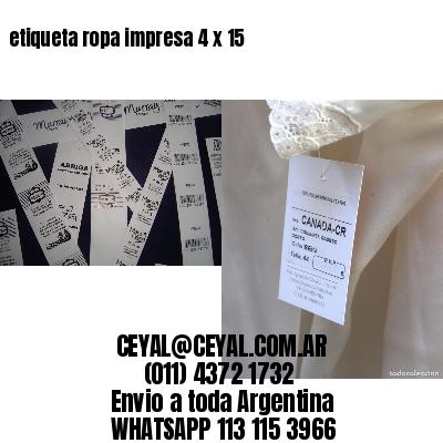 etiqueta ropa impresa 4 x 15