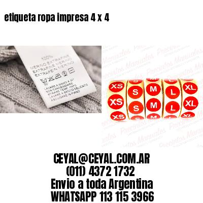 etiqueta ropa impresa 4 x 4