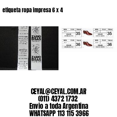 etiqueta ropa impresa 6 x 4