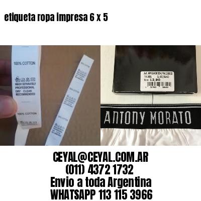 etiqueta ropa impresa 6 x 5