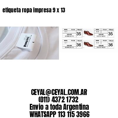 etiqueta ropa impresa 9 x 13