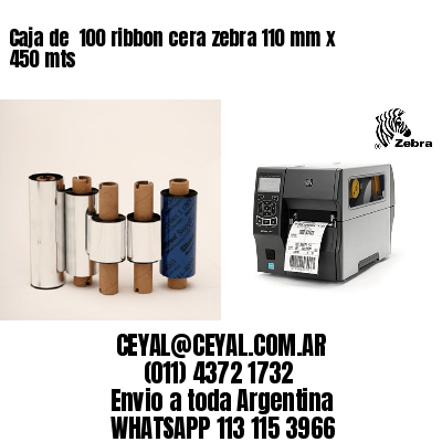 Caja de  100 ribbon cera zebra 110 mm x 450 mts