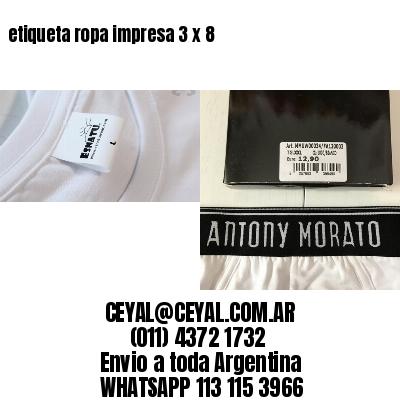 etiqueta ropa impresa 3 x 8