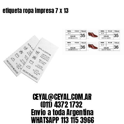 etiqueta ropa impresa 7 x 13