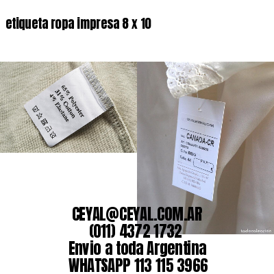 etiqueta ropa impresa 8 x 10