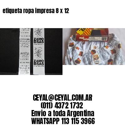 etiqueta ropa impresa 8 x 12