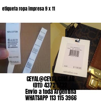 etiqueta ropa impresa 9 x 11