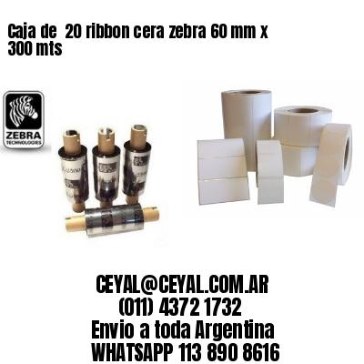 Caja de  20 ribbon cera zebra 60 mm x 300 mts
