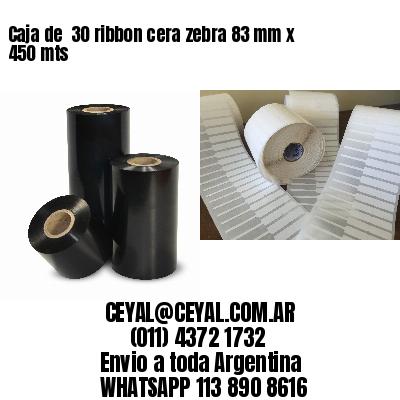 Caja de  30 ribbon cera zebra 83 mm x 450 mts