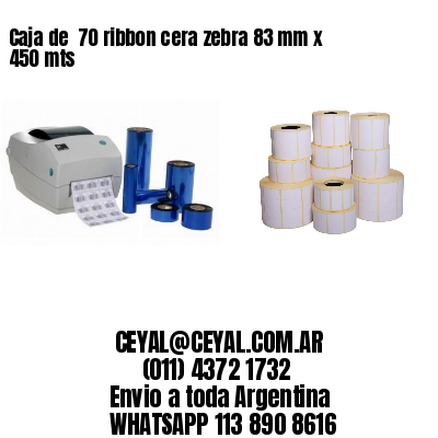 Caja de  70 ribbon cera zebra 83 mm x 450 mts