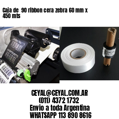 Caja de  90 ribbon cera zebra 60 mm x 450 mts