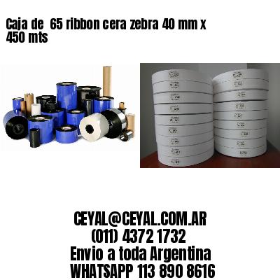 Caja de  65 ribbon cera zebra 40 mm x 450 mts