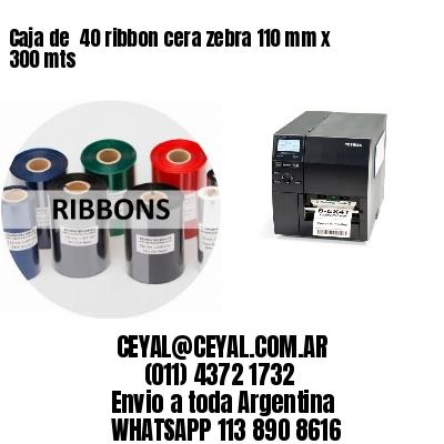 Caja de  40 ribbon cera zebra 110 mm x 300 mts