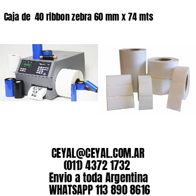Caja de  40 ribbon zebra 60 mm x 74 mts