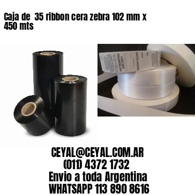Caja de  35 ribbon cera zebra 102 mm x 450 mts