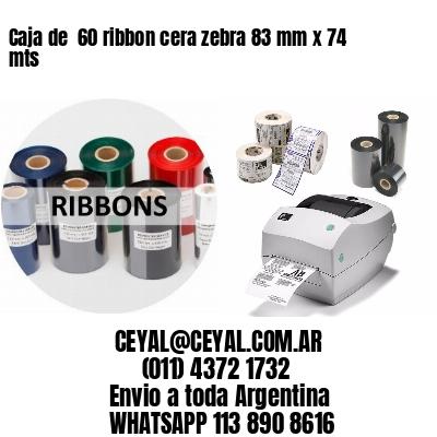 Caja de  60 ribbon cera zebra 83 mm x 74 mts