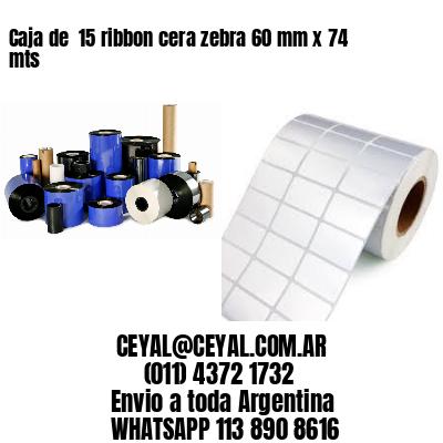 Caja de  15 ribbon cera zebra 60 mm x 74 mts